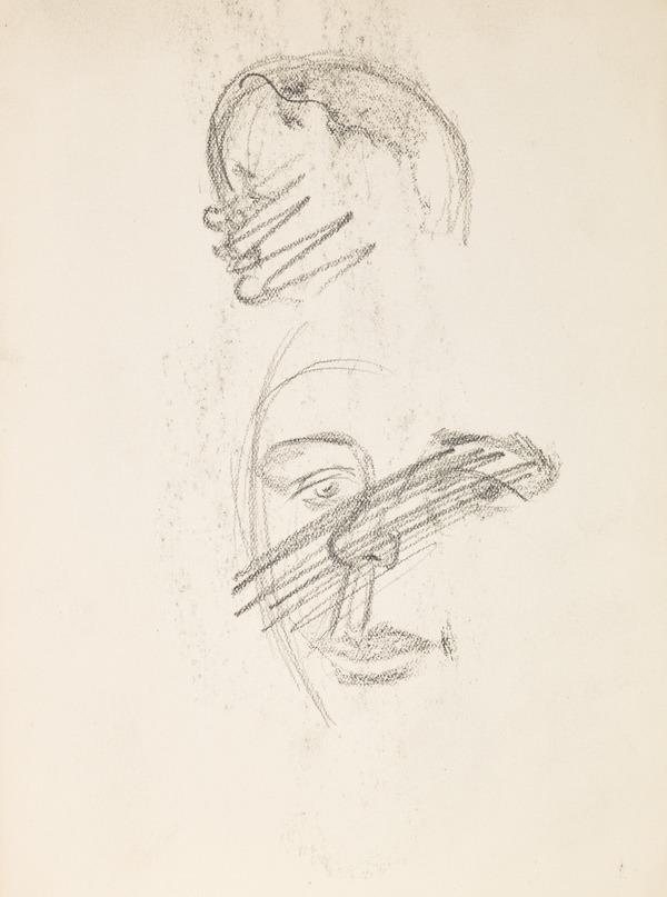 Two studies of heads, scored out (Executed early / mid 1930s)