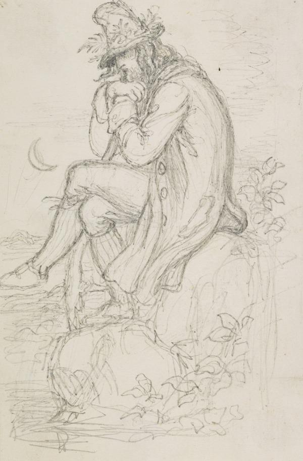 The Woodcutter Meditating by a Lake. Study for the Engraving Illustrating 'Midsummer Eve'