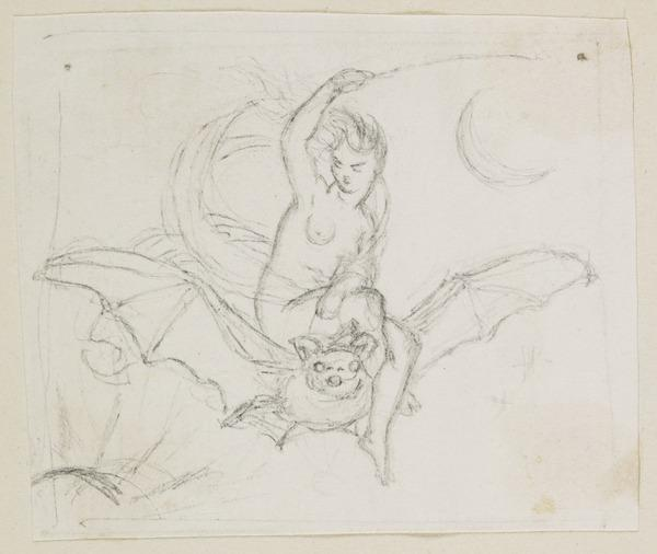 The Queen of the Fairies Riding a Bat. Study for the Engraving Illustrating 'Midsummer Eve'
