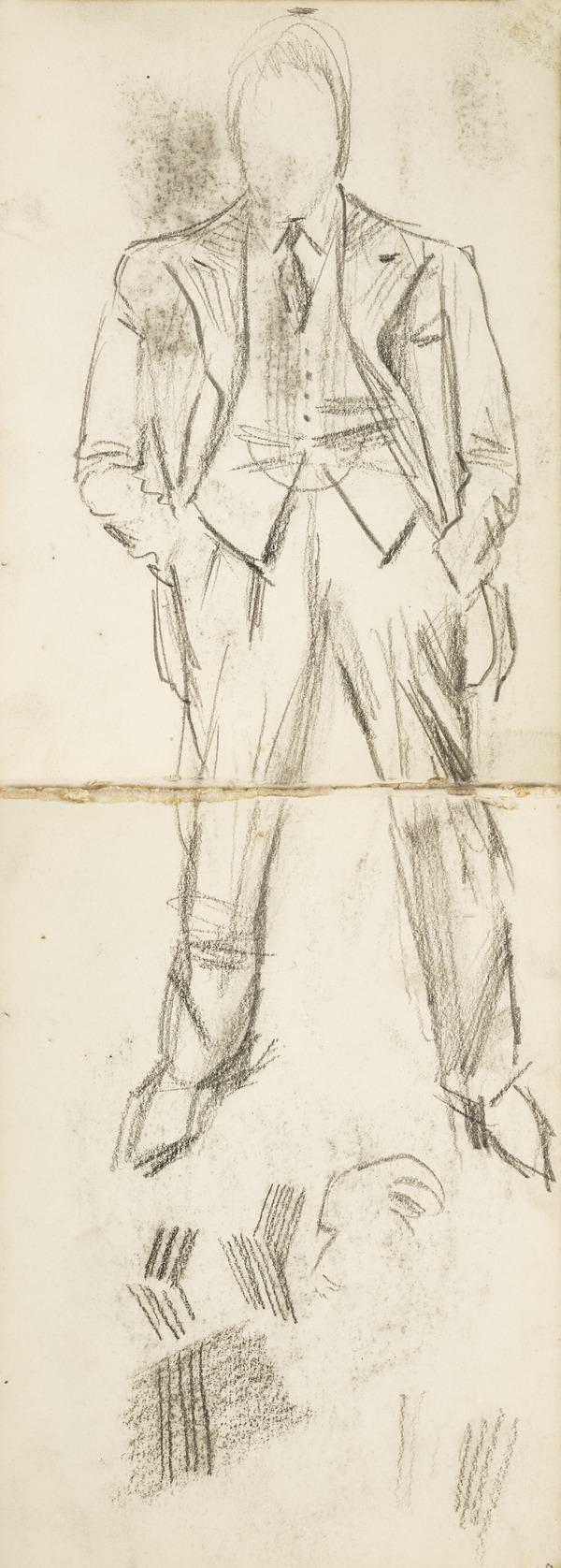 """Sketch of a man in a suit, inscribed """"at Cambridge, Festival Theatre"""" (Executed early / mid 1930s)"""