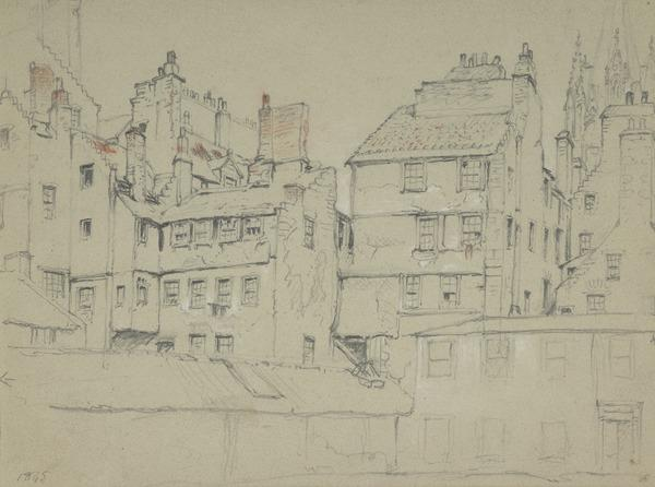 Edinburgh Houses, below the Assembly Hall and Tolbooth Church, Lawnmarket (Dated 1845)