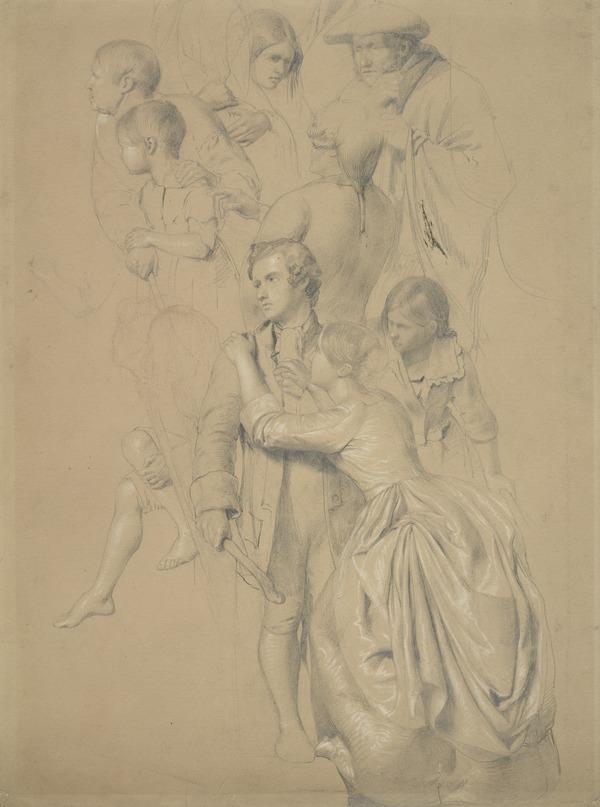 Group of Nine Figures on a Staircase. Study for the Painting 'The Porteous Mob'