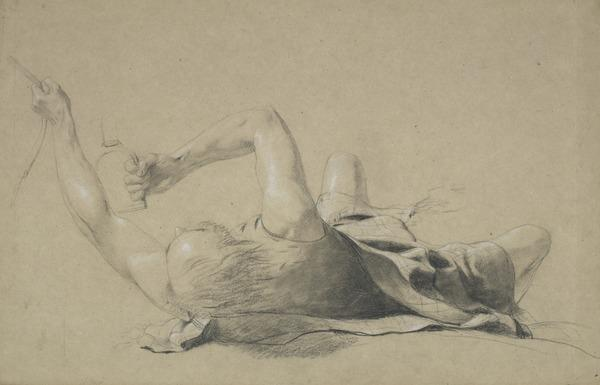 Study of a Highlander Lying on his Back Clutching the Bridle and Stirrup of a Horse