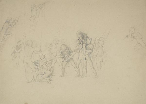 Captain Porteous Being Carried Towards the Dyers Pole which is Being Prepared for his Execution. Figure Composition Relating to the Painting 'The...