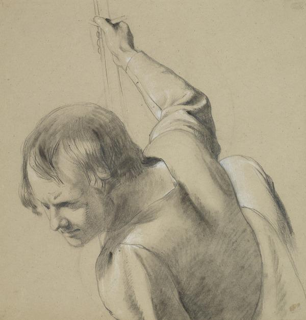 Study of a Head and Shoulders of a Man with Upraised Right Arm
