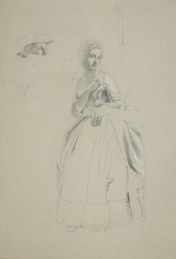 A Lady Descending from a Sedan Chair. Study for the Painting 'The Porteous Mob' (About 1855)