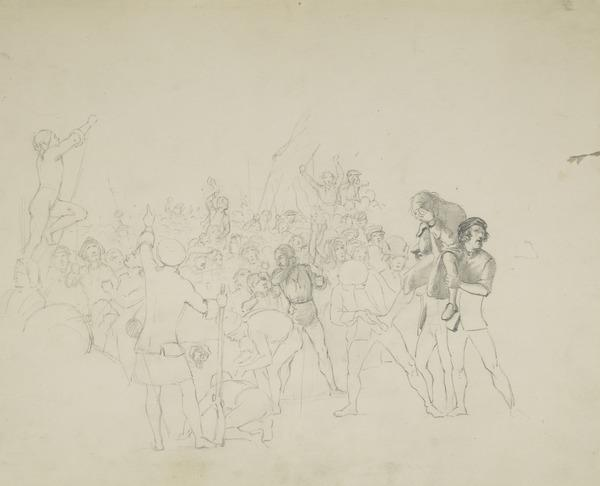 Group of Figures with Captain Porteous Carried Forward on the Right. Figure Composition Relating to the Painting 'The Porteous Mob'