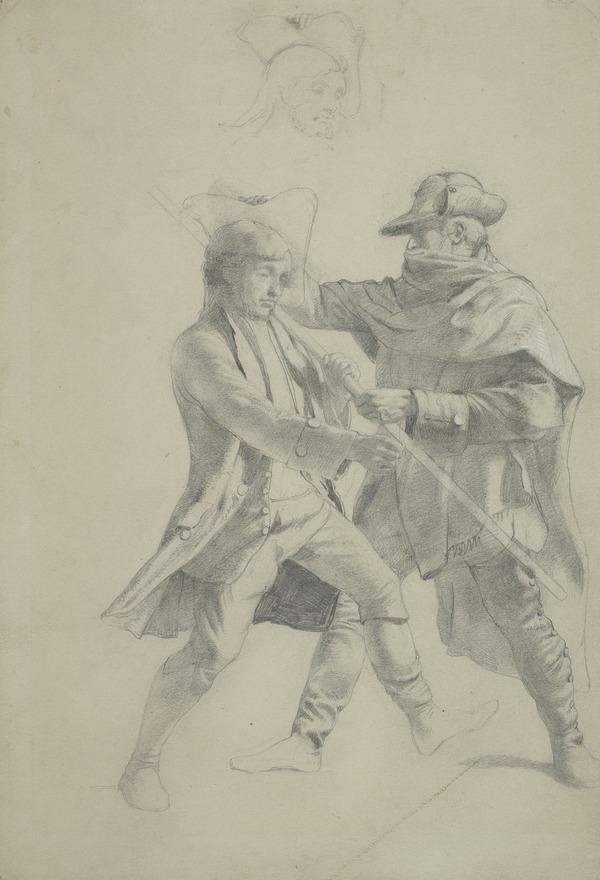 Two Men with a Pike-Staff. Study for the Painting 'The Porteous Mob'