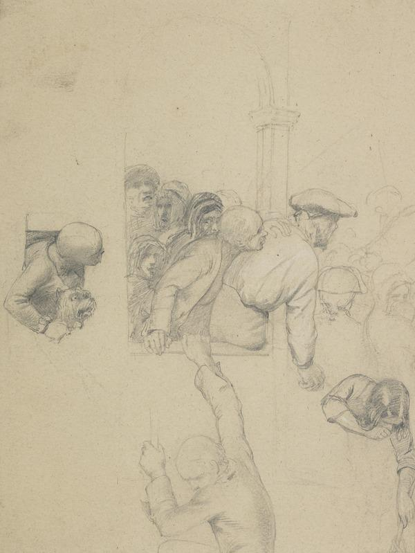 Group of Figures on a Porch. Study for the Painting 'The Porteous Mob'
