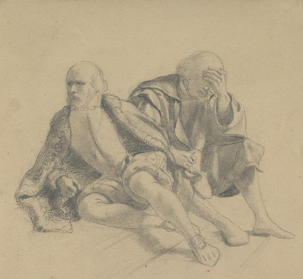 Study of Two Bearded Men Seated on a Staircase