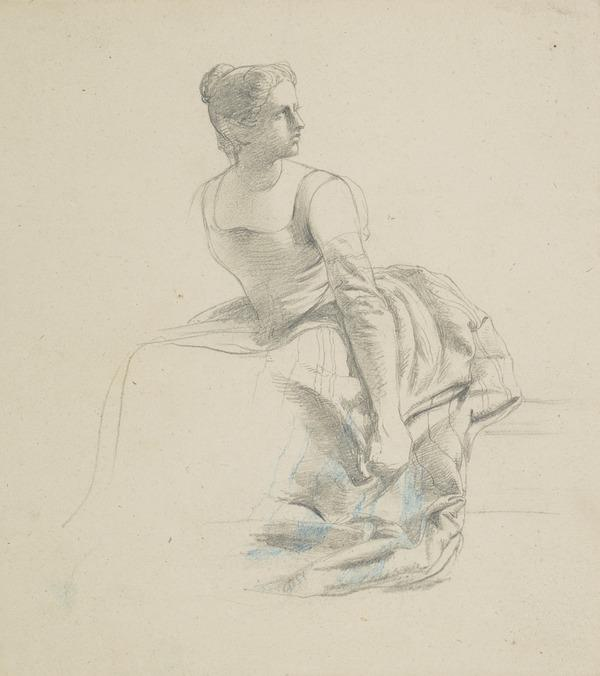 Study of a Seated Woman and Looking Upwards to the Right
