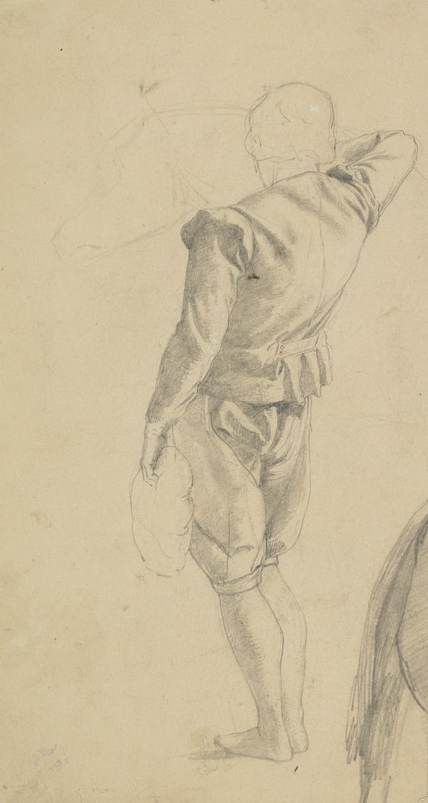 Study of a Man Standing Beside a Horse