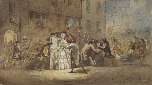Night Scene: A Lady Getting out of a Sedan Chair. Study for the Painting 'The Porteous Mob'