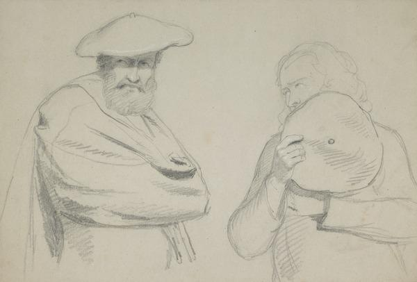 Study of Two Men with Bonnets