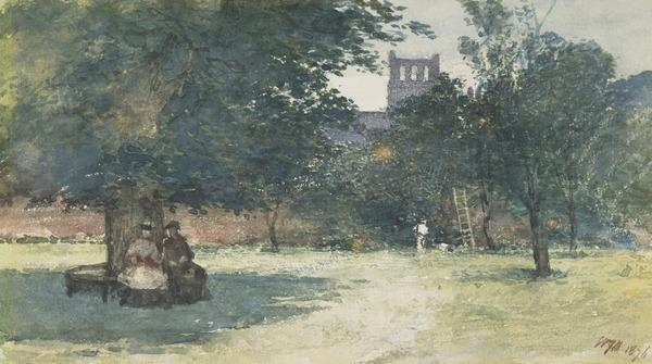 Near Melrose Abbey (Dated 1876)