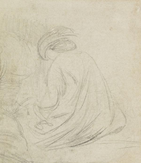 A seated figure, seen from the back