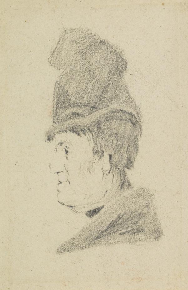 A woman's head, wearing a hat