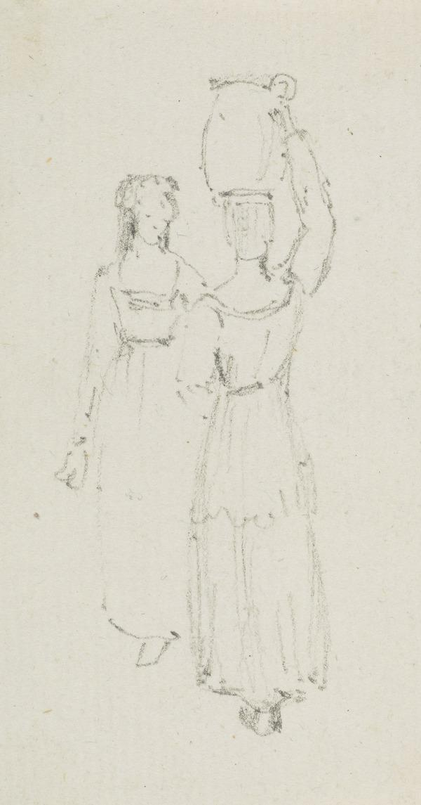 Two female figures, one carrying a pot on her head