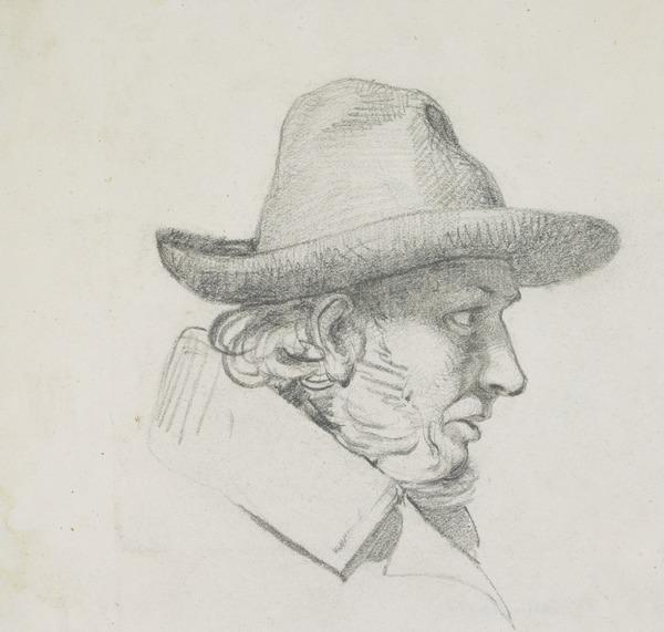 A man's head in profile, wearing a hat
