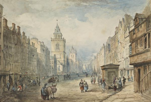 The High Street, looking West from John Knox's House, Edinburgh (early 1820s)