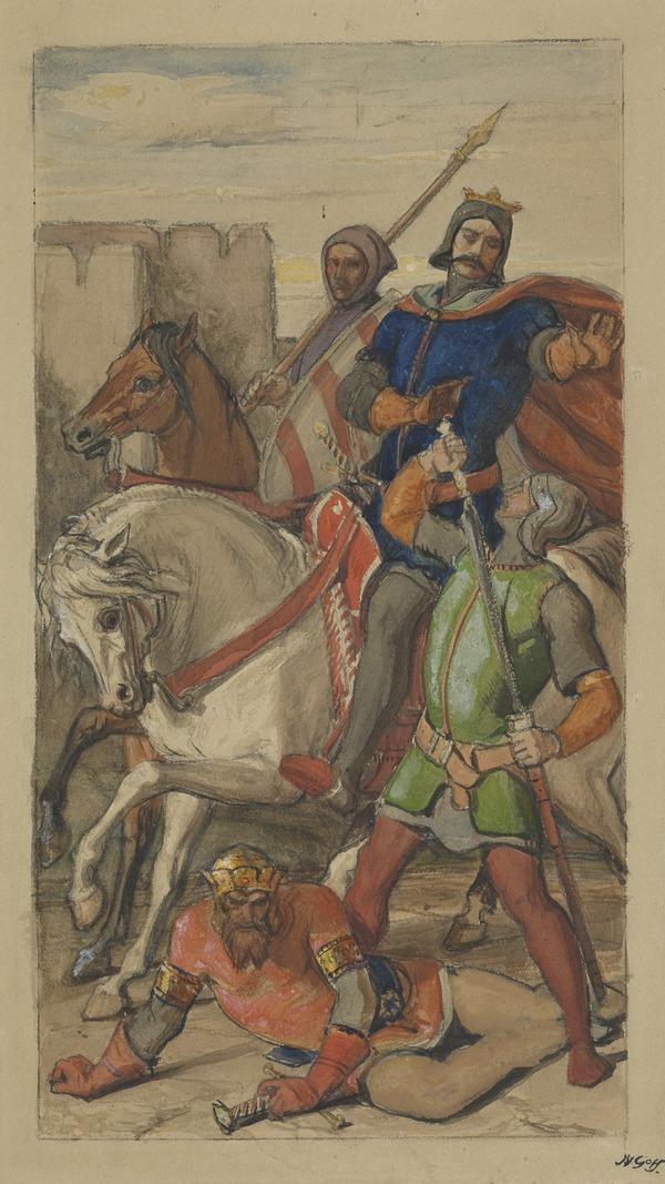 'Generosity - King Arthur, Unhorsed, Spared by Sir Lancelot'.