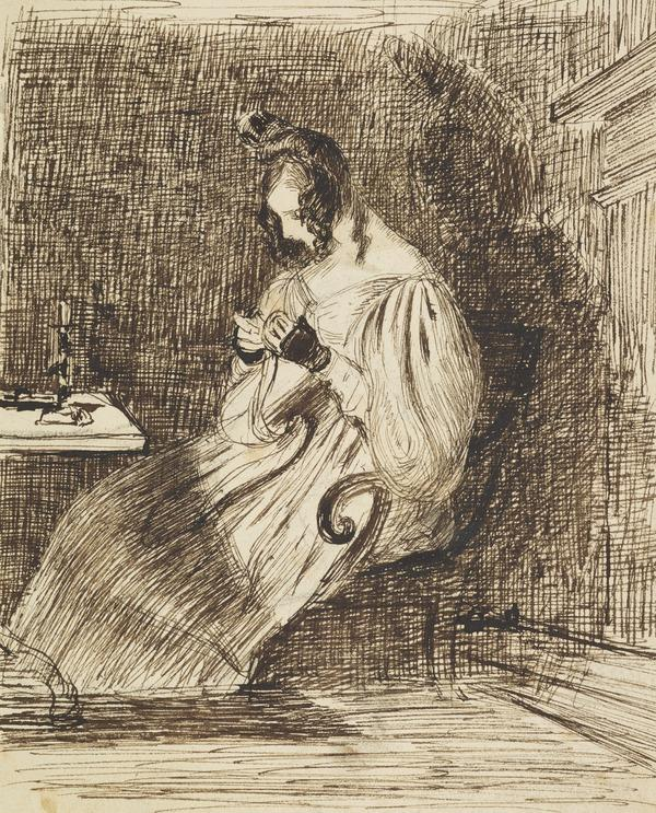 Study of a Seated Woman Sewing by Candlelight [Verso: Sketch of a Figure and a Compositional Sketch]