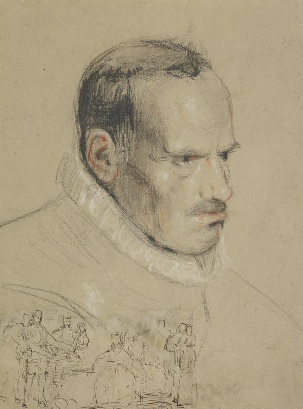 A Man's Head. Possibly a Study for the Painting 'Queen Mary Signing her Abdication at Lochleven Castle'
