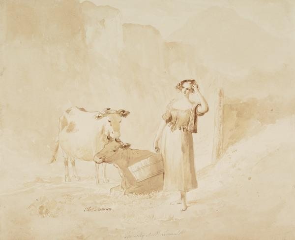 Study of a Milkmaid and Two Cows. 'The Lilly of St Leonards' - An Illustration to Sir Walter Scott's 'Heart of Midlothian'