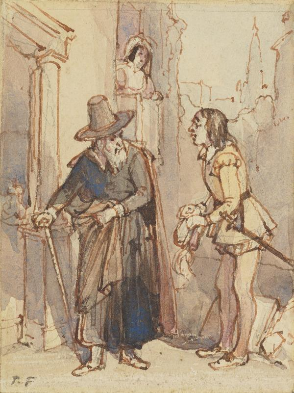 Shylock and Bassano. Illustration for 'The Merchant of Venice'