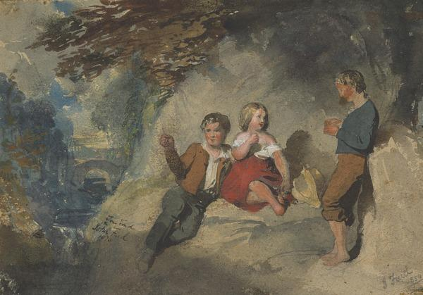Two Boys and a Girl under a Tree (Dated 1850)