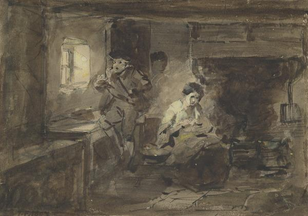 A Man and a Woman in a Cottage Interior: Illustration to Burns' 'Duncan Gray' (Dated 1847)