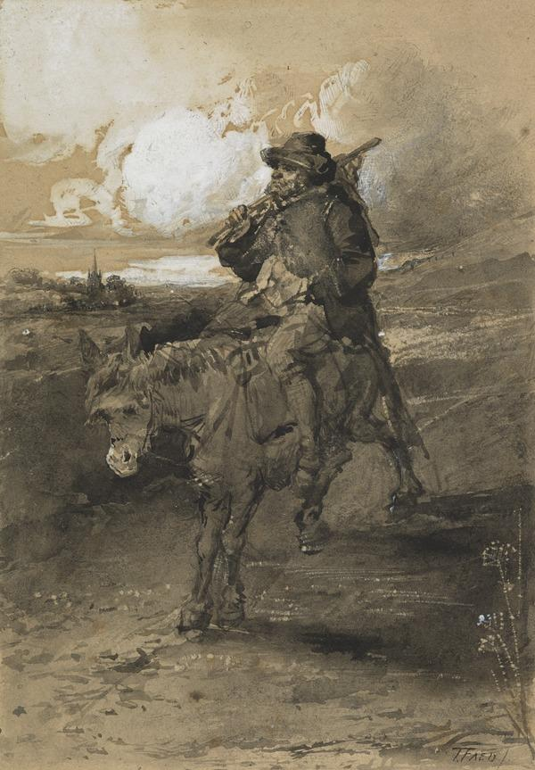 Peasant on a Donkey. Possibly a Study for the Painting 'Highland Tramp Crossing a Headland'