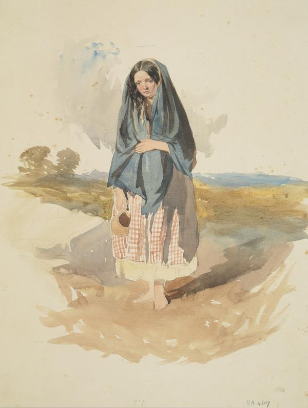 Study of a Peasant Girl with a Jug in a Landscape