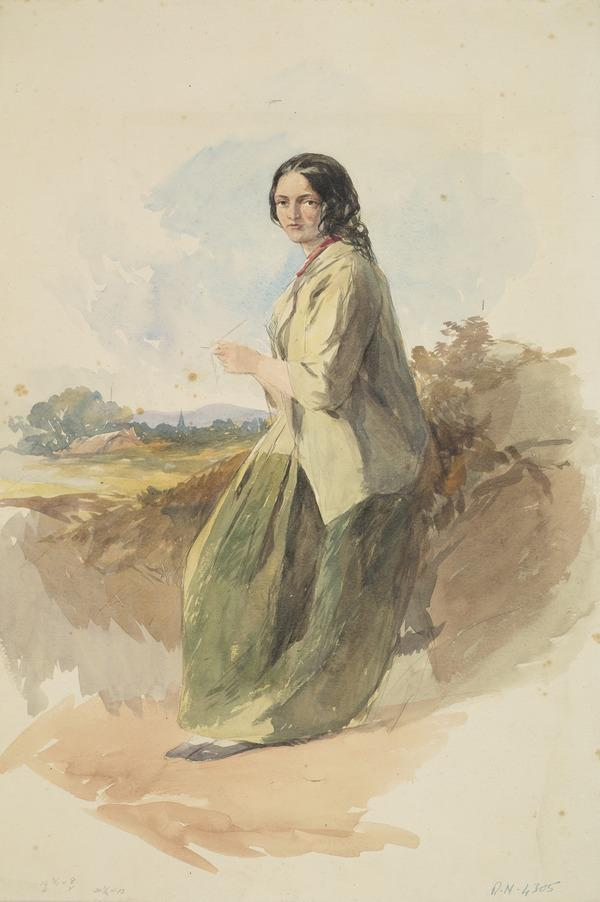 A Young Woman Knitting in a Landscape