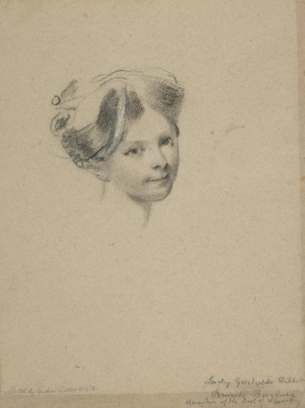 Head of Lady Gwendoline Talbot [Verso: Studies of Eyes and a Profile]