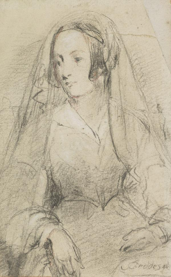Portrait Study of a Lady Seated (Half-Length, Three-Quarter View to the Left)