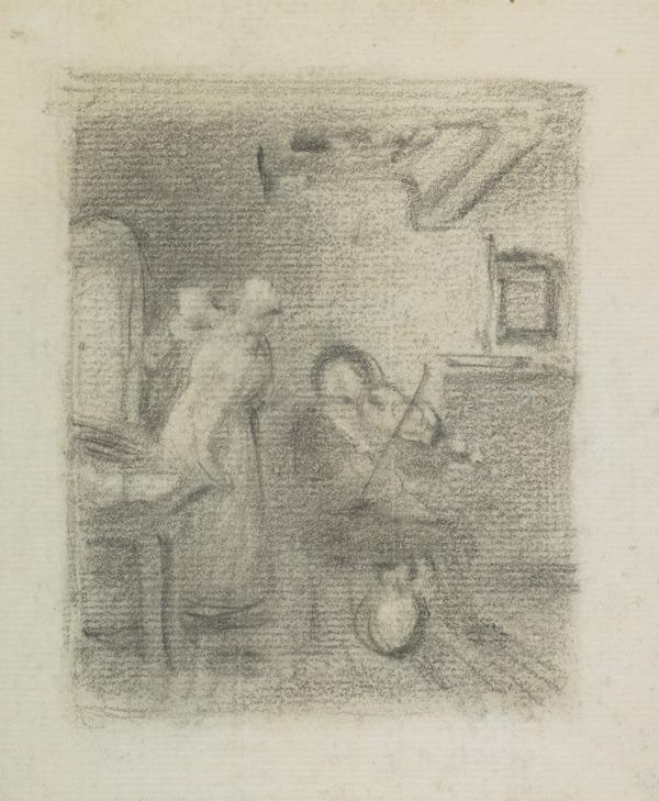 Cottage interior with fiddler, women and cat