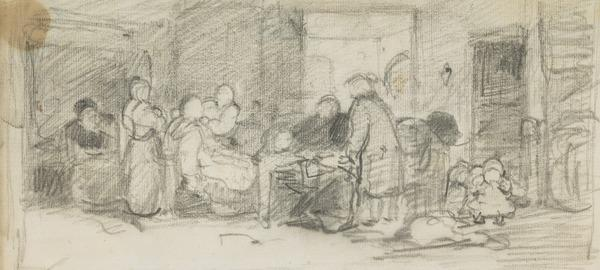 House interior with figures seated and standing around a table