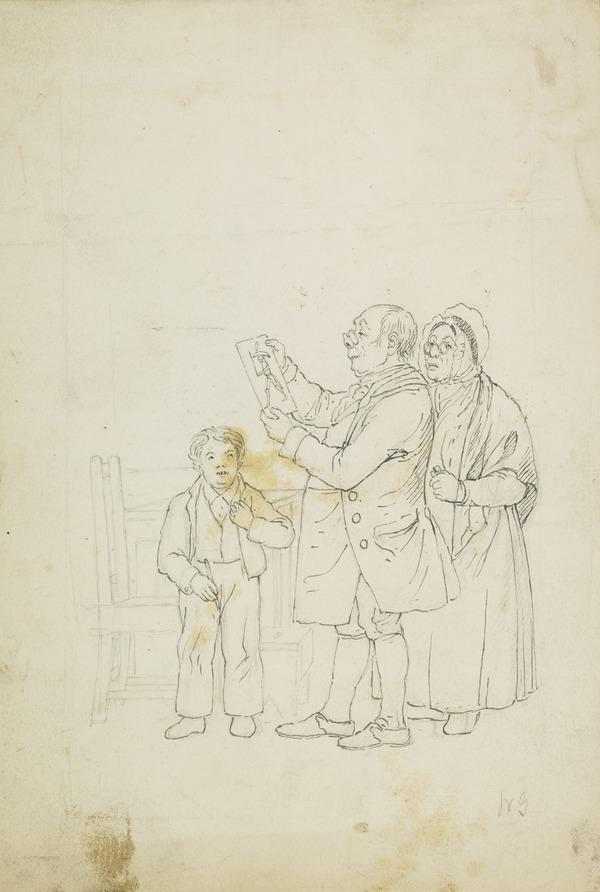 Father and Mother Admiring the Drawing of a Soldier by their Schoolboy Son