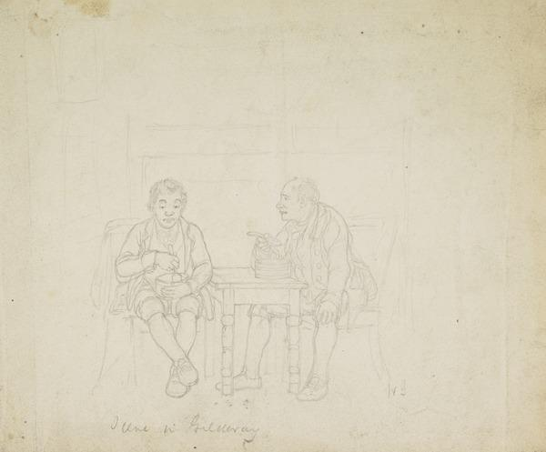 Two Men Sitting at a Table Eating