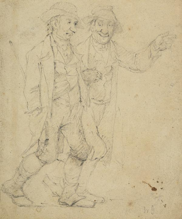 Two Men Walking Arm-In-Arm. Study for the Painting 'Hallow Fair in the Grassmarket'