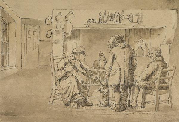 Domestic Scene with a Begging Dog