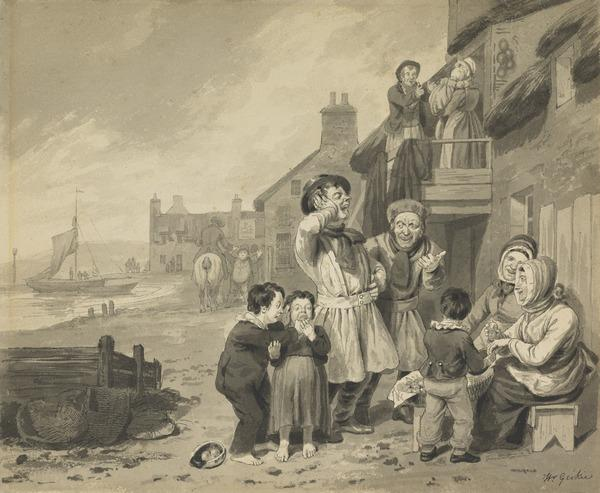 Newhaven Fisher Families Outside their Cottages - A Good Joke
