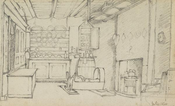 Cottage Interior with a Cradle