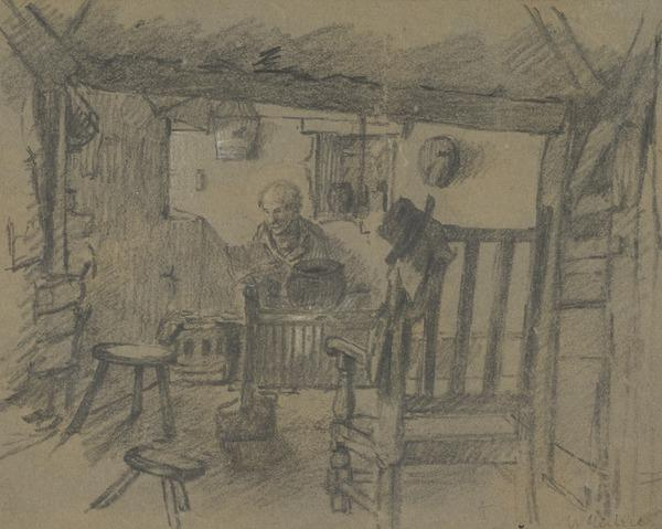 Cottage Interior with an Old Man and a Hat and Coat on the back of a Chair