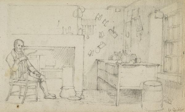 Interior of a Room with a Man Seated, Smoking a Pipe