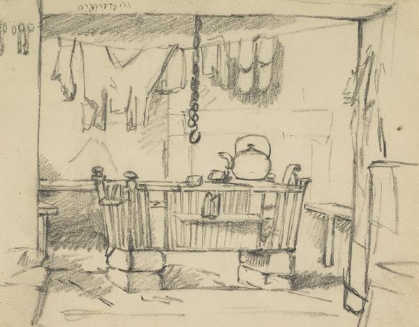 An Open Hearth with a Kettle and Clothes Hanging Up To Dry