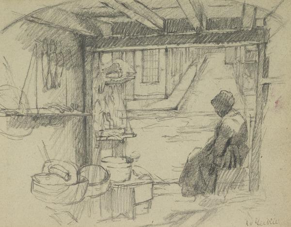 Interior of a Building with a Woman Seated to the Right