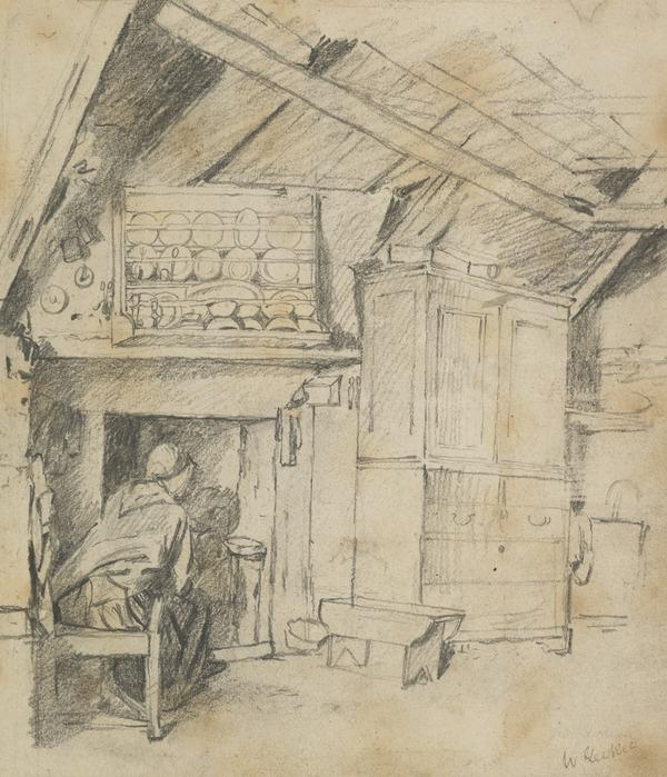 Cottage Interior with a Woman Sitting by the Fire on the Left