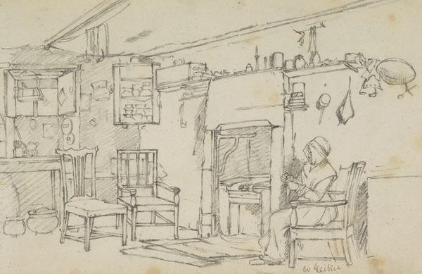 Cottage Interior with a Seated Woman Darning